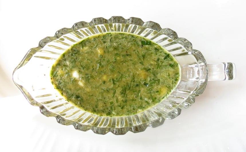 Chicken Wrap marinade in glass server.